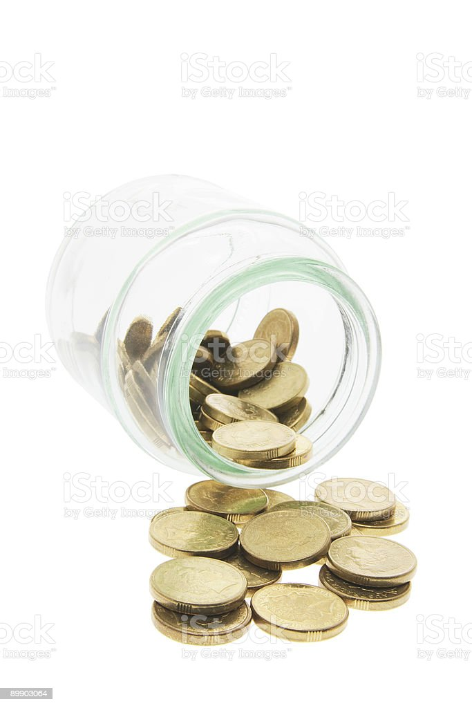 Glass Jar with Coins royalty-free stock photo