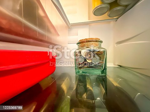istock Glass jar with money from different countries 1223369789