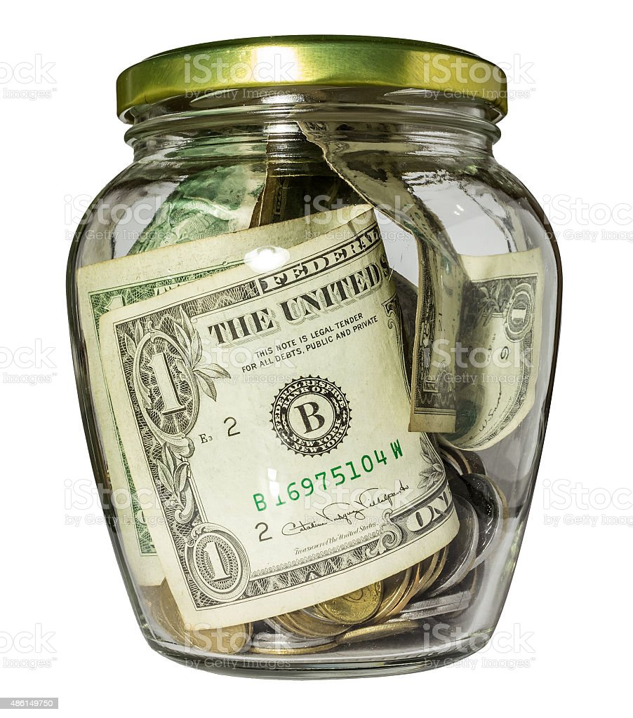 Glass jar with money stock photo