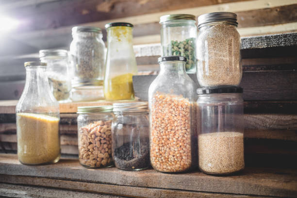 glass jars of spices, grains and dry food - zero stock pictures, royalty-free photos & images