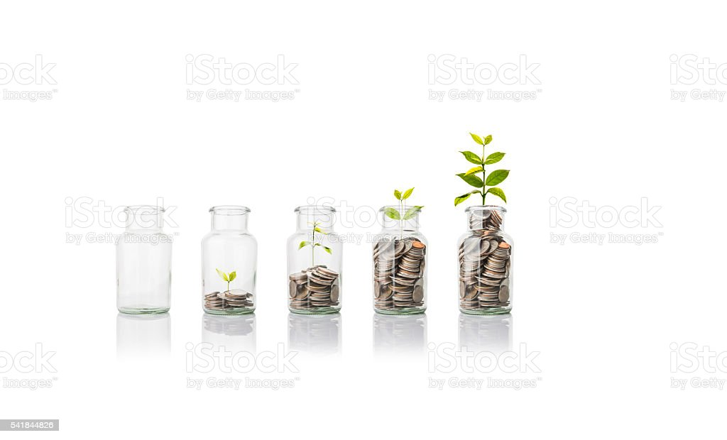 Glas Jar mit Münzen, Einsparungen Konzept – Foto