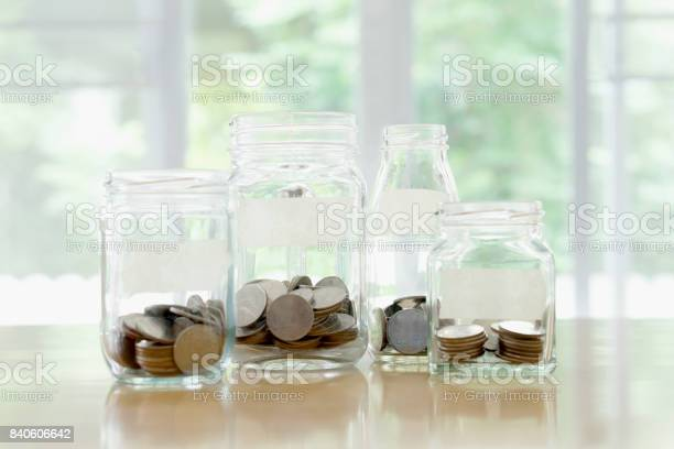 Glass Jars With Money Coins Ruble And Empty Sticker Stock Photo - Download Image Now