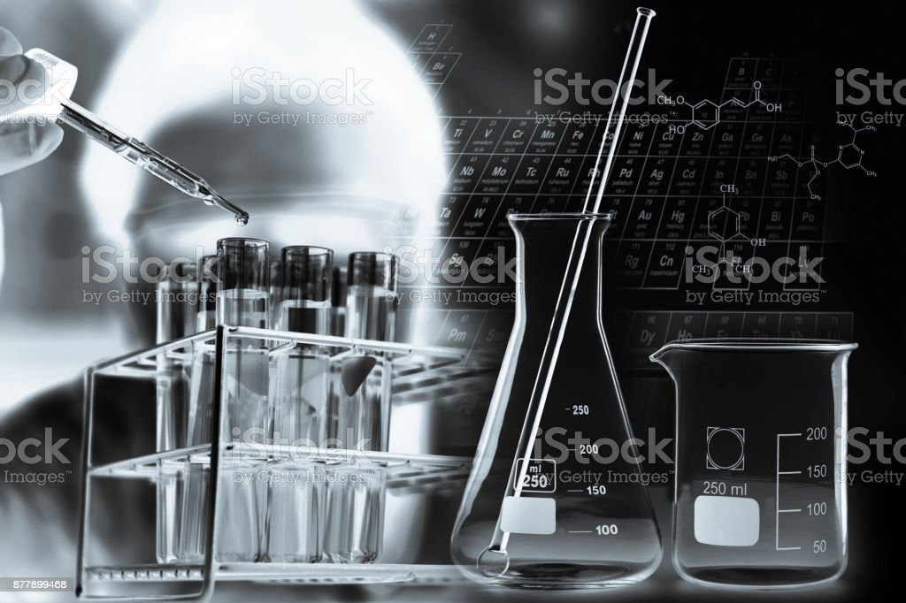 scientist with equipment and science experiments ;Double exposure...
