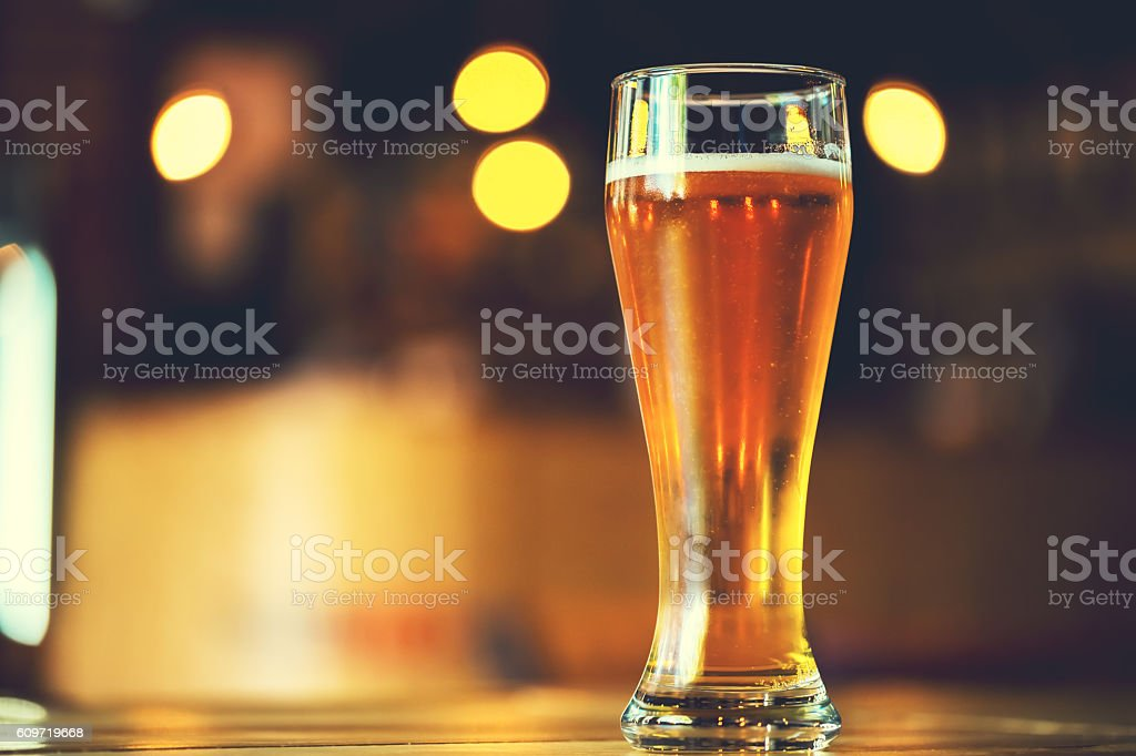 Glass  lager beer. Soft focus. Shallow DOF – Foto