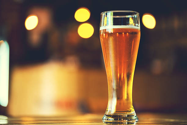 Glass  lager beer. Soft focus. Shallow DOF stock photo