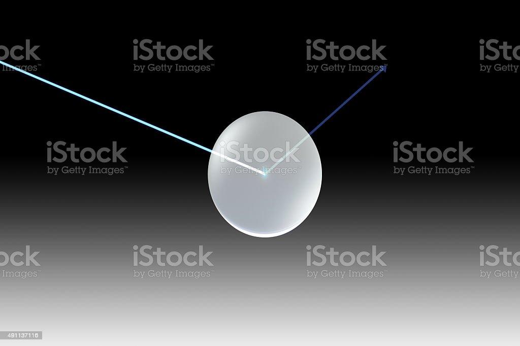 glass lens single UV black with arrow stock photo