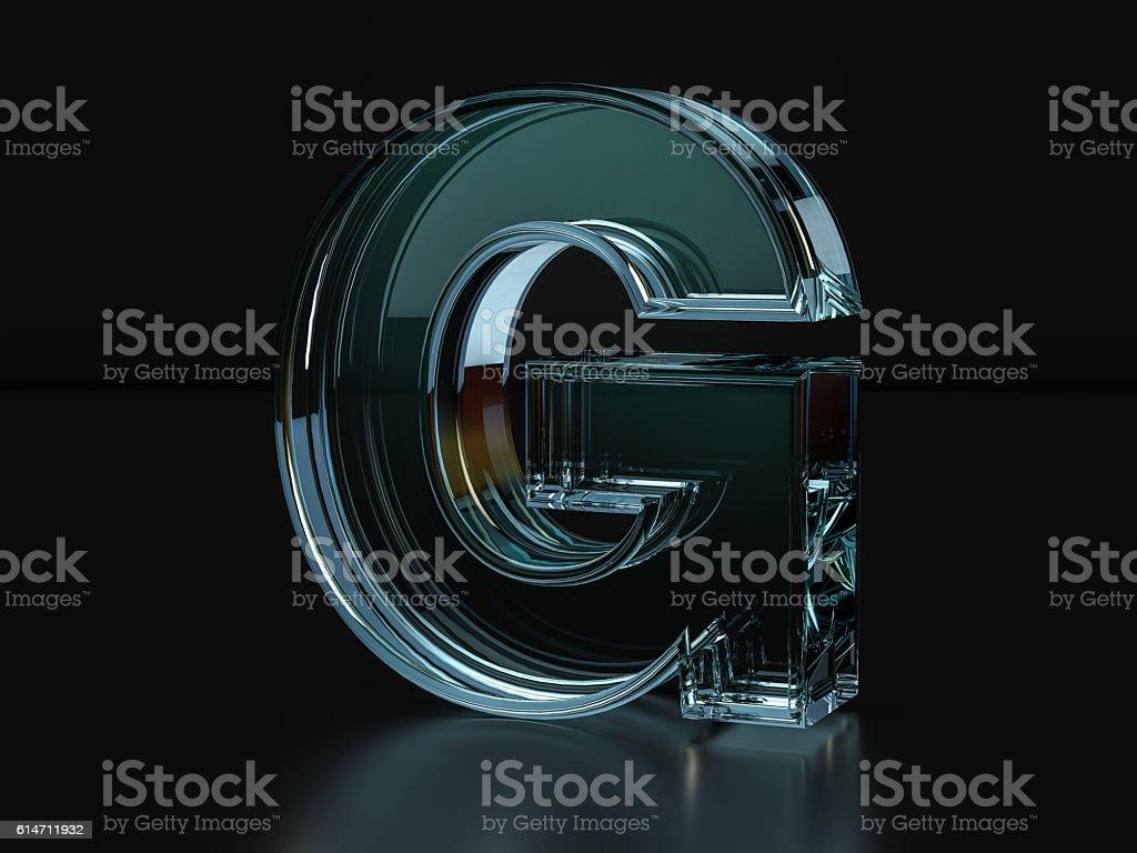 Glass letter G stock photo