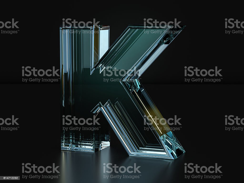 Glass letter K stock photo