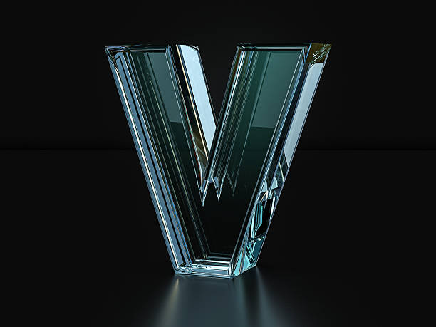 Glass letter V stock photo