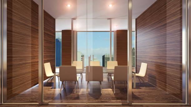Sala de reuniões do vidro. Renderização 3D - foto de acervo