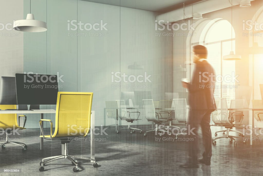 Glass meeting room and yellow chair office, man royalty-free stock photo