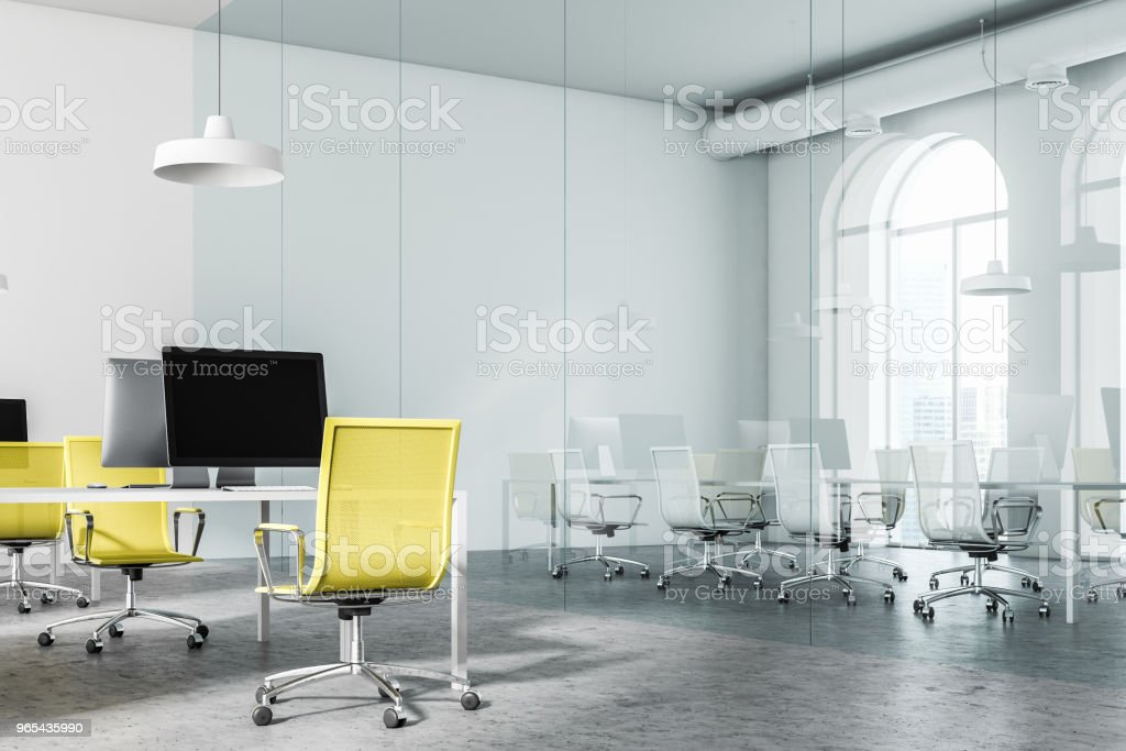 Glass meeting room and yellow chair office zbiór zdjęć royalty-free