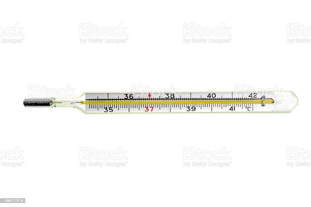 glass mercury thermometer stock photo