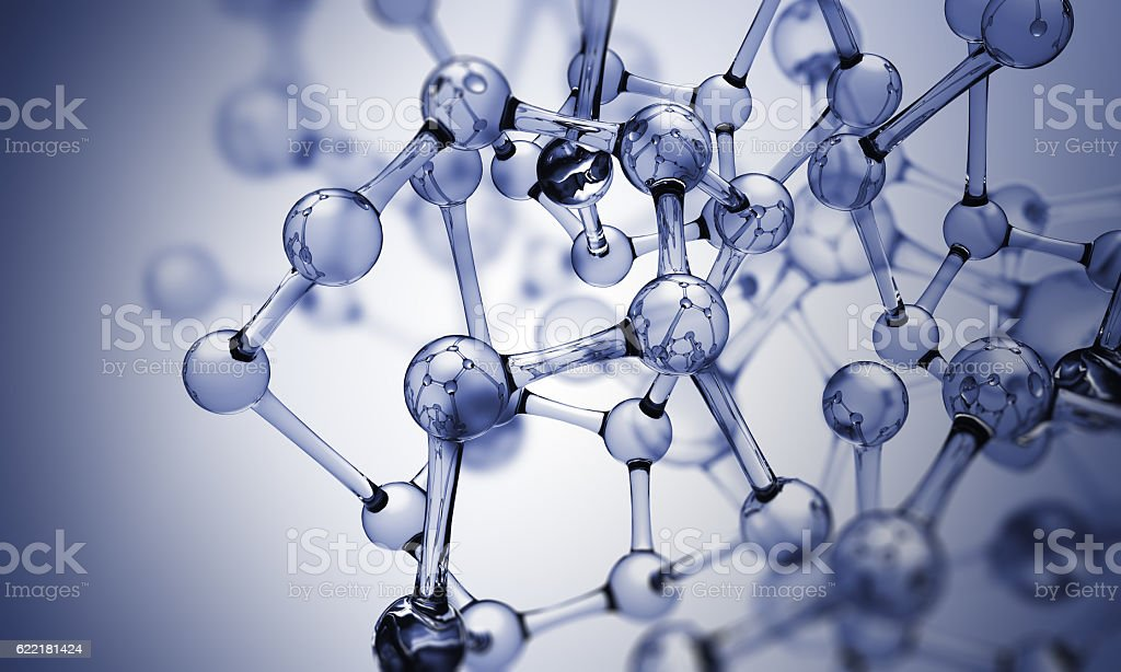 Glass molecules stock photo