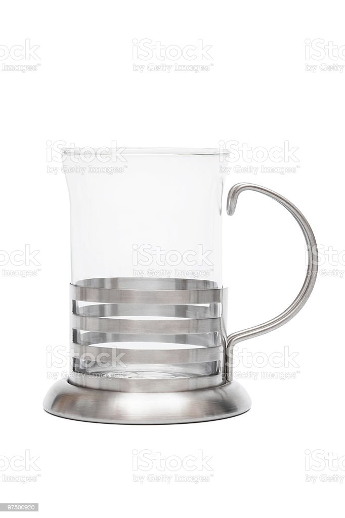 glass mug in steel frame royalty-free stock photo