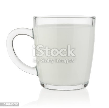 Glass mug filled with milk isolated on white background