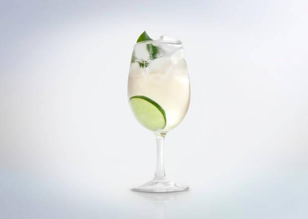Verre d'une boisson cocktail froide avec du vin blanc / vermouth, tranche de citron / citron vert et une menthe feuille. - Photo