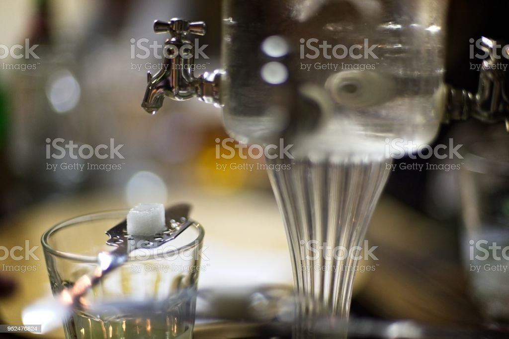 Glass of absinth stock photo
