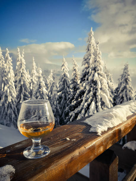 Glass of alcohol backed by some trees with snow stock photo