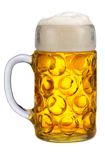 glass of bavarian lager beer stock photo