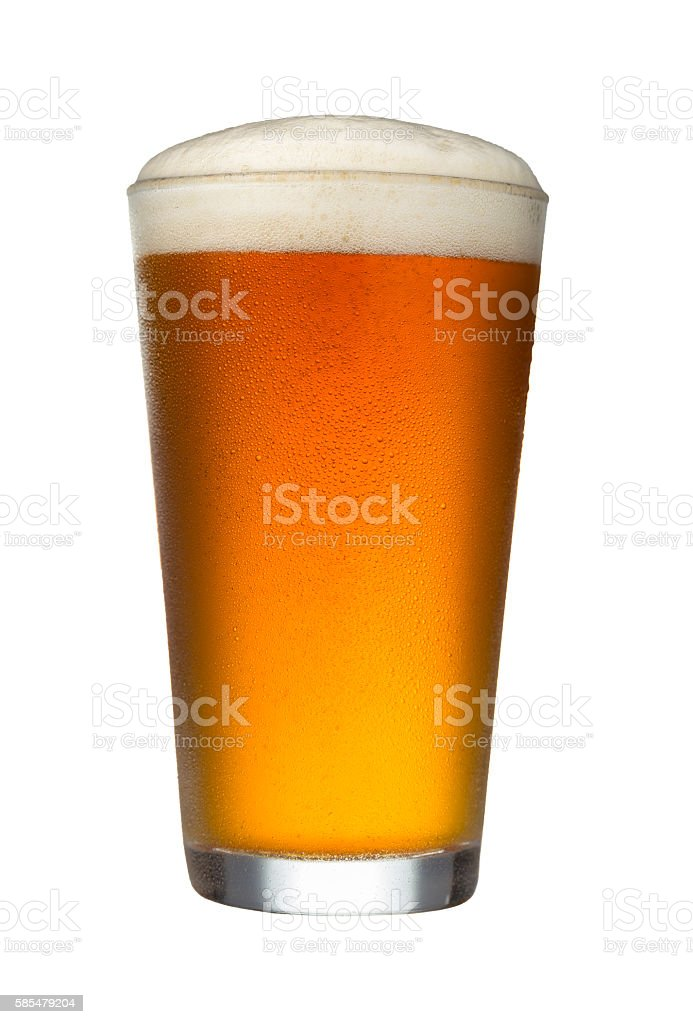 Glass of Beer on White Background stock photo