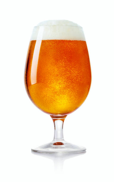 glass of beer single glass of beer isolated on white background beer glass stock pictures, royalty-free photos & images