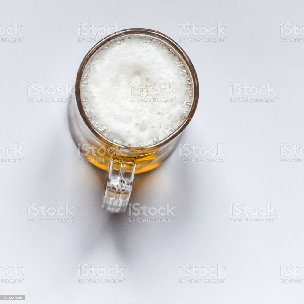 Glass of beer - top view stock photo