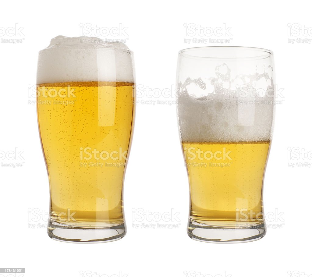 glass of beer with clippin path stock photo