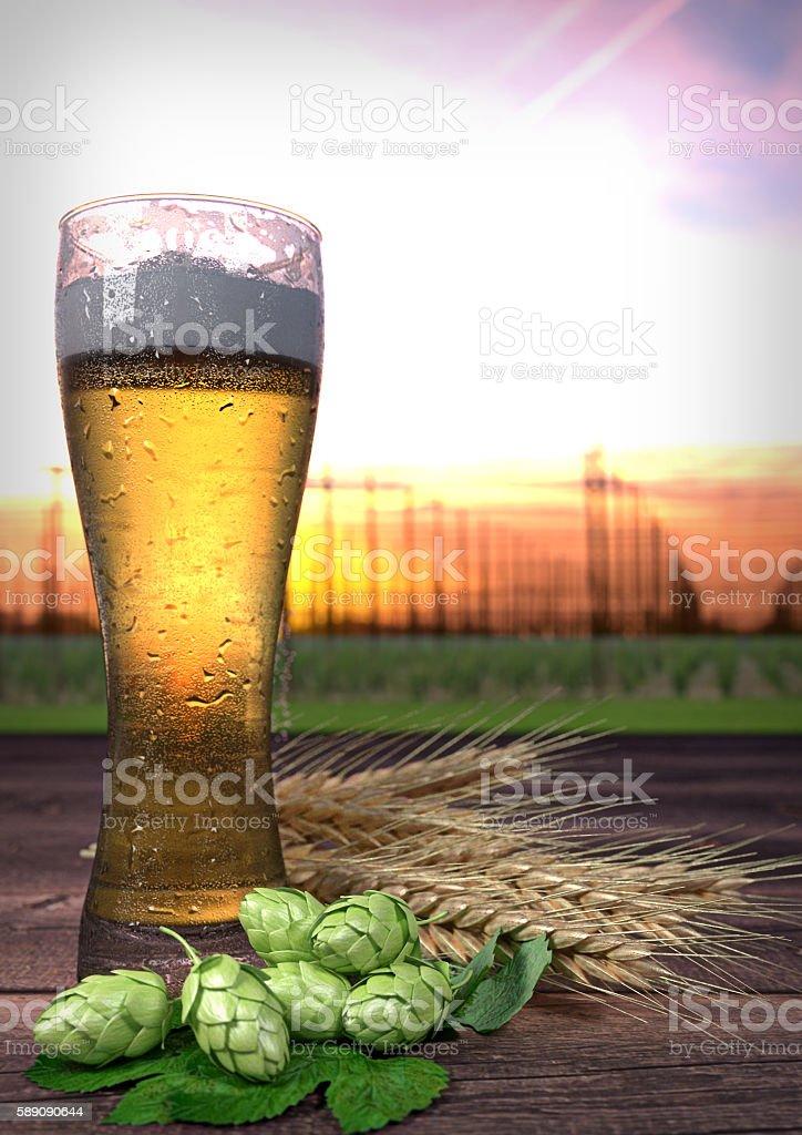 glass of beer with hop-garden background - 3D render stock photo