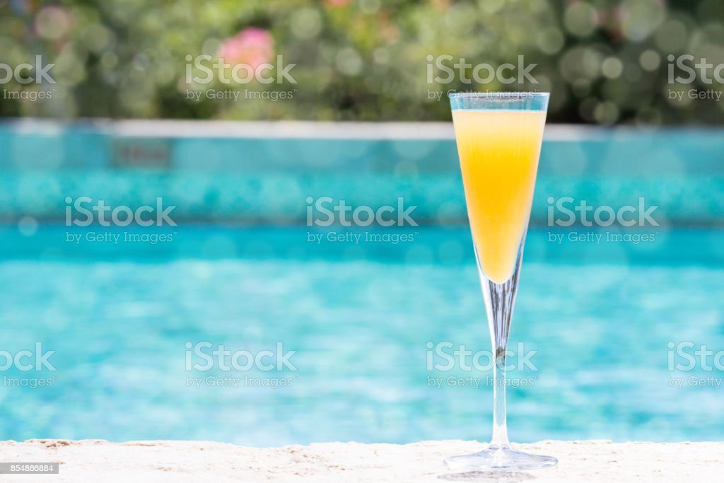 Glass of Bellini stock photo