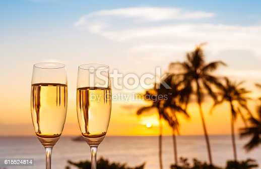 istock Glass of champagne and a beautiful view 615524814