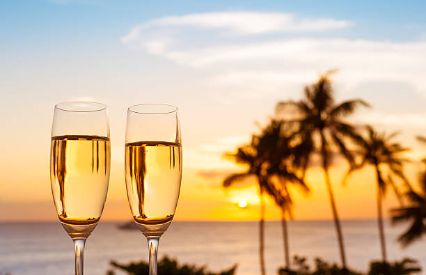 Glass of champagne and a beautiful view stock photo