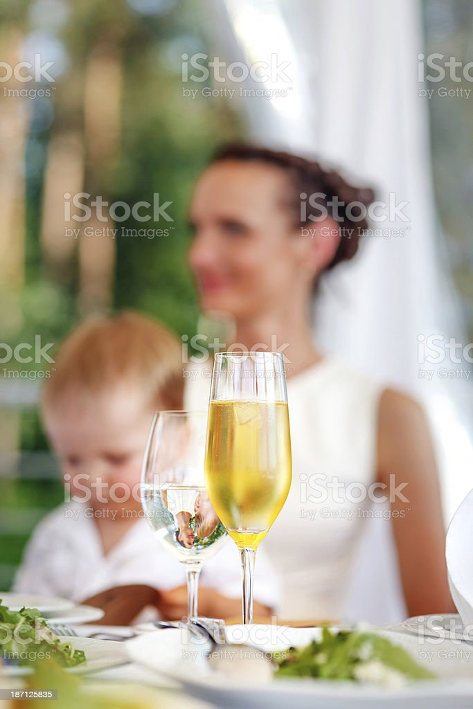 Glass of champagne and water royalty-free stock photo