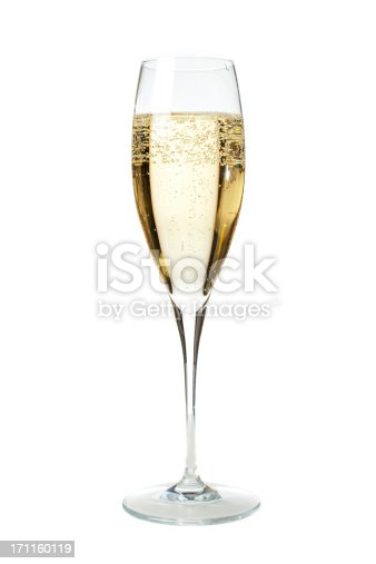 To properly welcome the New Year's Eve what's better than a flûte of sparkling and chilled French Champagne? Vertical portrait of a flûte glass full of champagne isolated on white, ideal for conveying any party related concept.