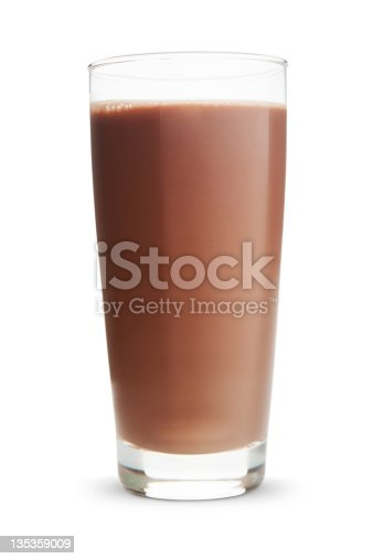 Glass of chocolate milk on white background