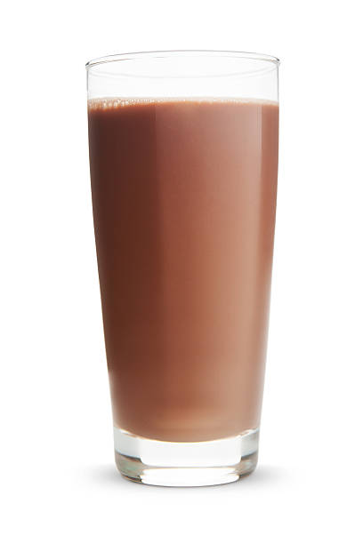 Glass of chocolate milk on a white background stock photo
