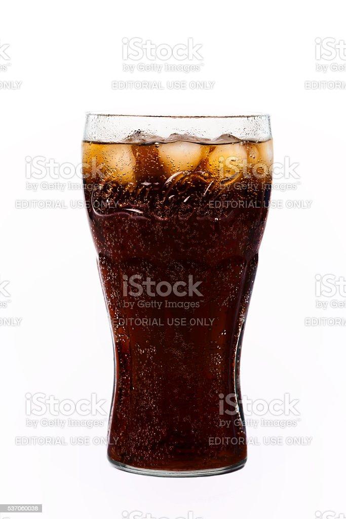 Glass of Coca-Cola. stock photo