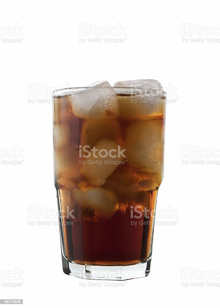Glass of Cola and Ice, isolated (clipping path) royalty-free stock photo