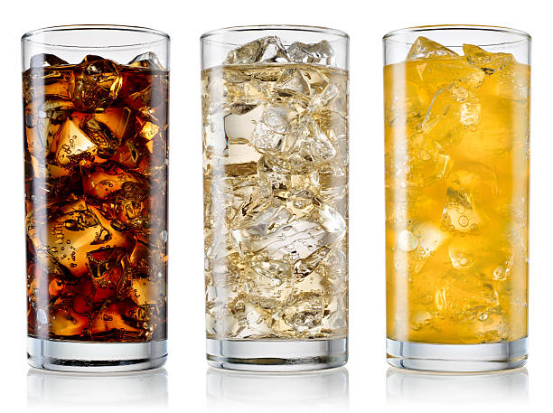 glass of cola, fanta, sprite isolated. with clipping path - soda pop stock photos and pictures