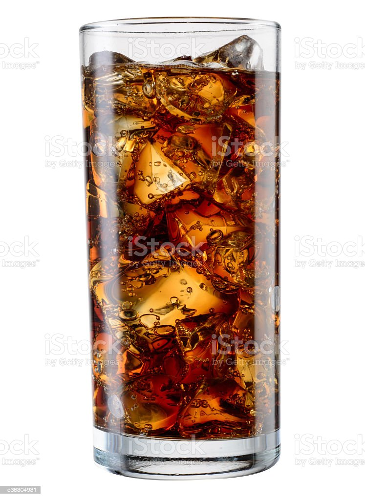 Glass of cola with ice cubes isolated. With clipping path stock photo