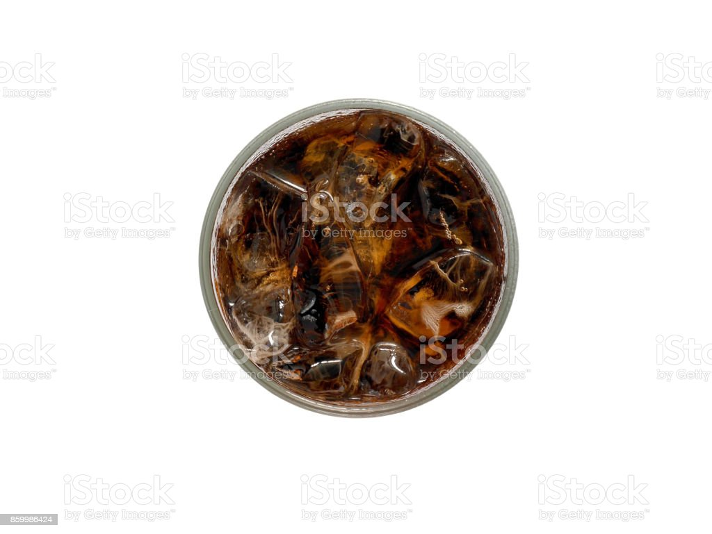 A glass of cola with ice cubes stock photo