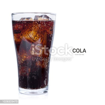 Glass of cola with ice isolate on white background.
