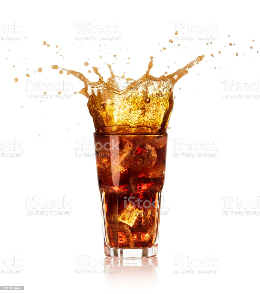 glass of cola with splash isolated royalty-free stock photo
