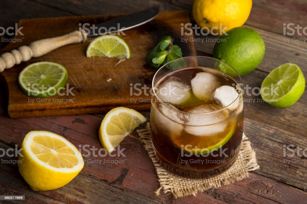 Glass of cold Cuba Libre Cocktail stock photo