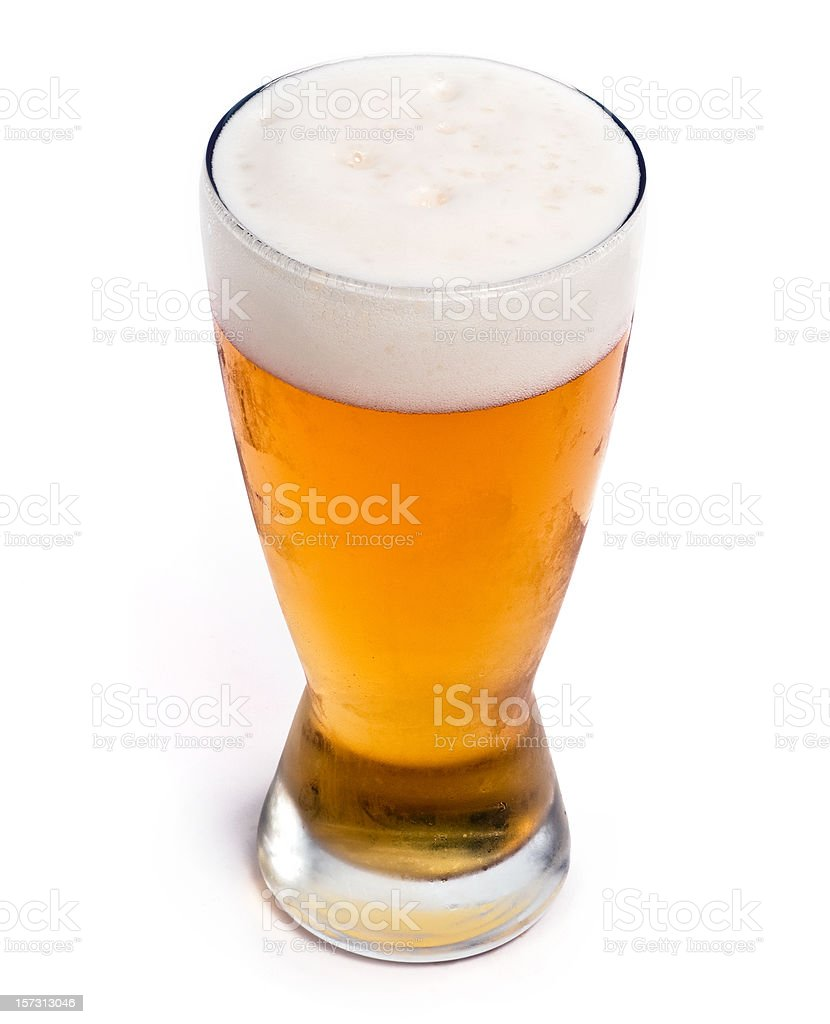Glass of cold draft pilsen beer stock photo