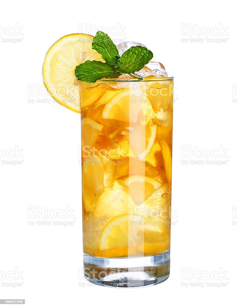 Glass Of Cold ice tea Drink isolated on white stock photo