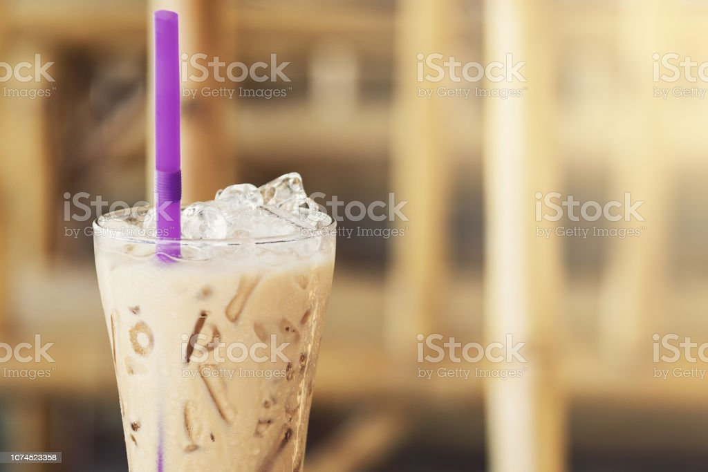 Glass of cold iced coffee stock photo