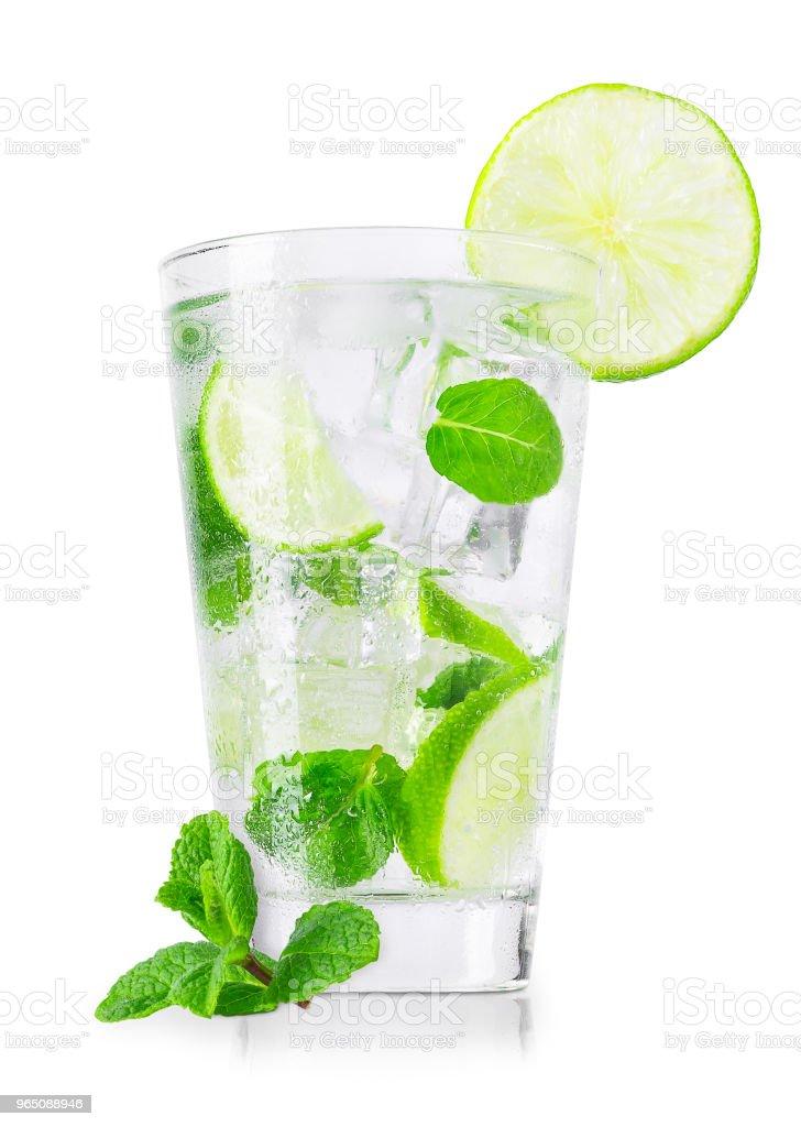 glass of cold lemonade isolated on white zbiór zdjęć royalty-free