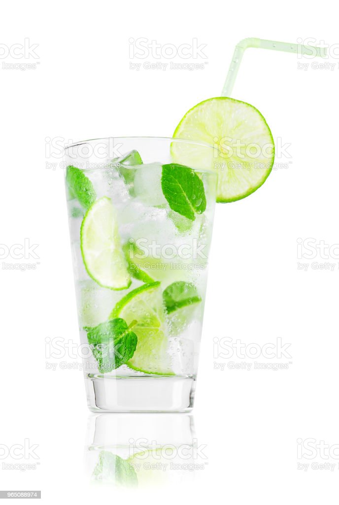glass of cold lemonade with straw isolated on white royalty-free stock photo