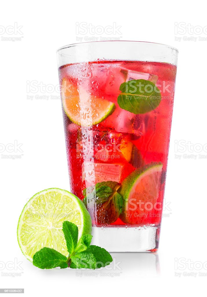 glass of cold red cocktail isolated on white stock photo